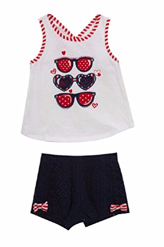 Rare Editions Girls Patriotic 4th of July Sunglasses Shorts Set (12m-6x) (4) by Rare Editions