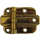 art deco cabinet hinges - I-35 Art Deco Flush Mount Brass Hinge Antique Cabinet Furniture Reproduction Restoration Hardware - 6 Pairs/Pack + Free Bonus (Skeleton Key Badge) (6)