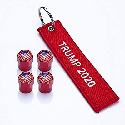 PATWAY 4Pcs USA Flag American President Donald Trump 2020 Logo Car Bike Scooter Tires Valve Stem Caps with Key Chain Embroidered Universal fit for Cars, SUVs, Bike and Bicycle, Trucks, Motorcycles: Automotive