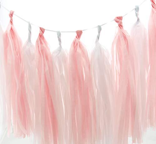 Ballerina Garland, White & Light Pink Summer Party Tassels (Set of 10) - Princess Party Supplies, Little Girl Tissue Paper Tassel, Dancer Birthday Party Decorations Banner - Ballerina Inch 13