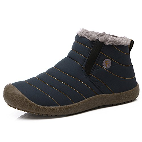 Men Women Winter Sitaile Slip Booties Blue Ankle Boots High Snow Lined Boots On Fur Outdoor Waterproof ankle wAWwEtqxf1