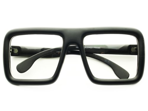 Retro Style Thick Framed Nerd Geek Party Clear Lens Square Flat Top Glasses Frames (Matte Black) by - Geek Thick