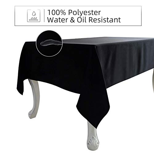 Ethlomoer Rectangle Tablecloth 60x84 Inch, Water & Oil Proof and Spill-Proof, Wrinkle Resistant, Washable Polyester Table Cover for Dinning Party Outdoor & Indoor Use, Black 60x84 Inch