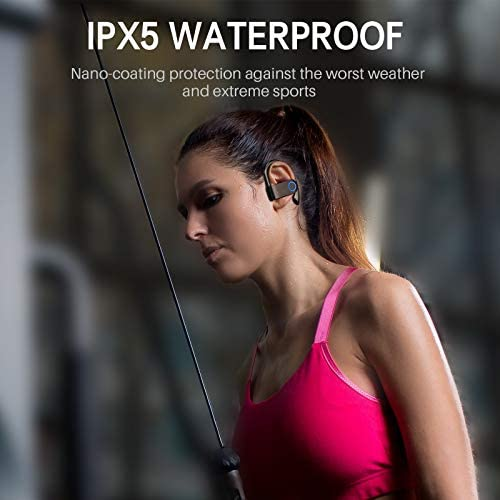 Wireless Earbuds, Bluetooth 5.0 Running Headphones Stereo Deep Bass Sport Earphones Built-in Mic IPX5 Waterproof 30Hrs Playtime Headset with Ear Hooks for Sports Running Gym