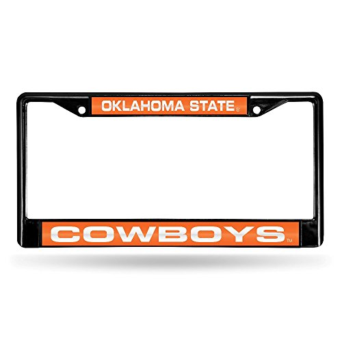 Rico Industries NCAA Oklahoma State Cowboys Laser Cut Inlaid Standard Chrome License Plate Frame, 6