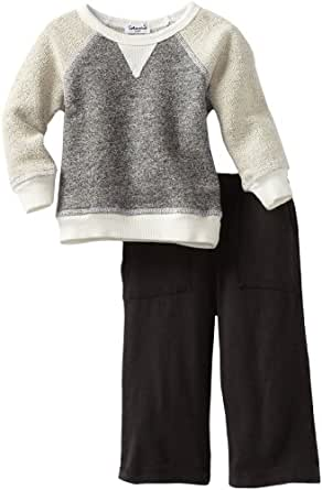 Splendid Littles Baby Boys'  Charcoal French Terry Sweatshirt Set, Natural, 12 18 Months