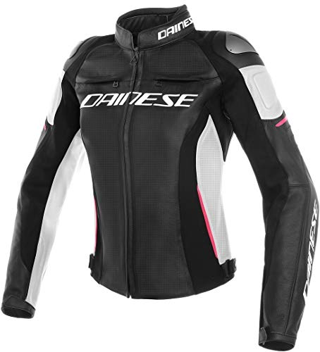 Dainese Racing 3 Perforated Leather Women's Street Motorcycle Jacket - Black/White/Fuchsia / 42