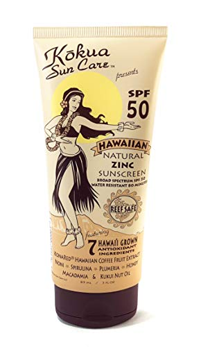 Kokua Sun Care Hawaiian Natural Zinc Sunscreen SPF 50 80 Minutes Water Resistance