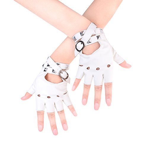 (JISEN Women Punk Rivets Belt Up Half Finger PU Leather Performance Gloves White)