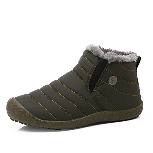 L-RUN Men's Waterproof Snow Boots with Fur Winter Casual Ankle Short Boots Outdoor Grey pUL8OqtPud