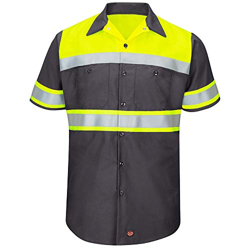 Red Kap Men's Size Hi-Vis SS Colorblock Ripstop Work Shirt-Type O, Class 1, Fluorescent Yellow/Charcoal, X-Large/Tall from Red Kap
