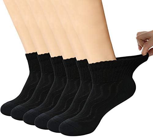 +MD 6 Paar Herren Gesundheitssocken Ohne Gummi Diabetiker Socken Feuchtigkeitsregulierend Bambussocken Schwarz EU46-50