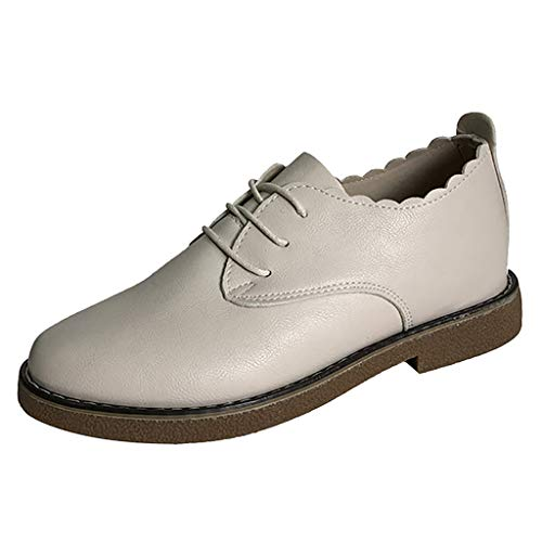 (JJHAEVDY Women's Leather Lace-up Wingtip Oxfords Vintage Wavy Edge Low Heel Oxford Shoes Brogues Ankle Booties)
