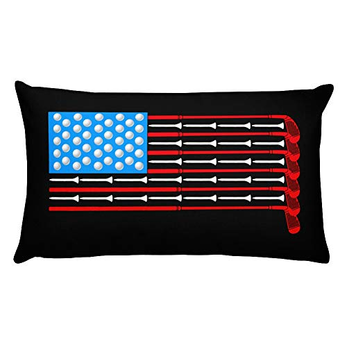 - Hand Wooden Customizable Decorative Throw Pillow Covers American Flag Golf Balls and Tees Sports Cases for Sofa Bedroom Car Pillows Rectangular 20 x 12 inch, 50 x 30 cm