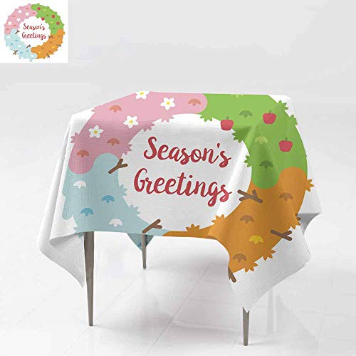 (Fbdace Stain Resistant Square Tablecloth,Flat Design Season s Greetings Card with Wreath Party Decorations Table Cover Cloth 54x54 Inch)