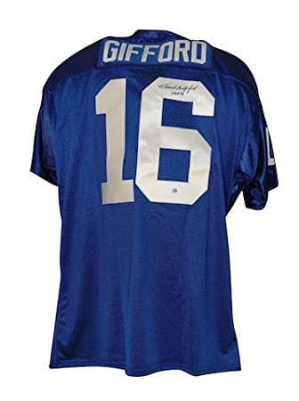 Autographed Frank Gifford New York Giants Blue Throwback Jersey inscribed   quot HOF 77 quot  - 357d54729