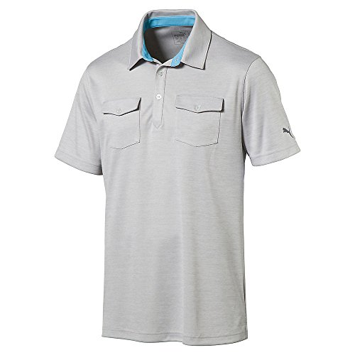 PUMA Golf 2017 Men's Tailored Double Pocket Polo, Light Grey Heather, X-Large