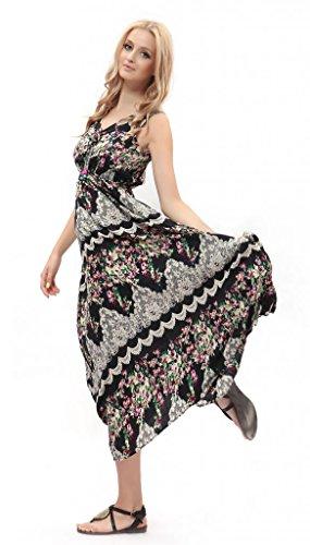 Dilanni Women's Strap Sleeveless Floral Printed Summer Beach Bohemian Sundress 07M