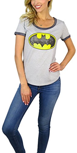 Batman Ladies T-shirt (DC Comics Womens Batman Distressed Logo Burnout Ringer Tee (X-large, Bat Grey))