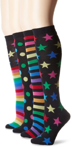 K. Bell Women's Fun Pattern Over The Knee Socks, Mix It Up Designs,9-11