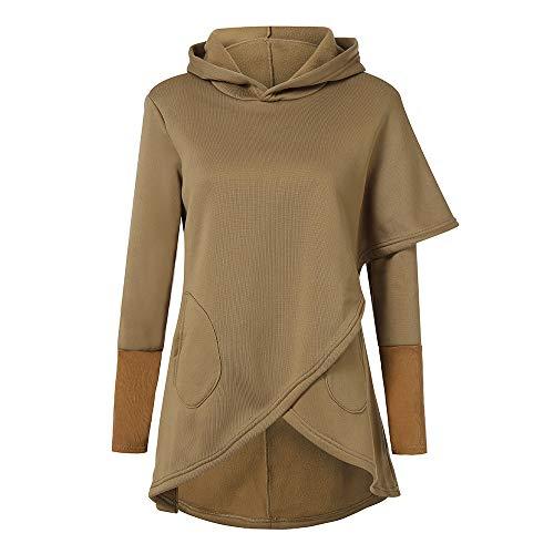 scaling ♥Pullover Sweater Women Clearance Womens Hooded Irregular Cotton Long Sleeve Casual Shirt Blouse Sweatshirt (Khaki, S)