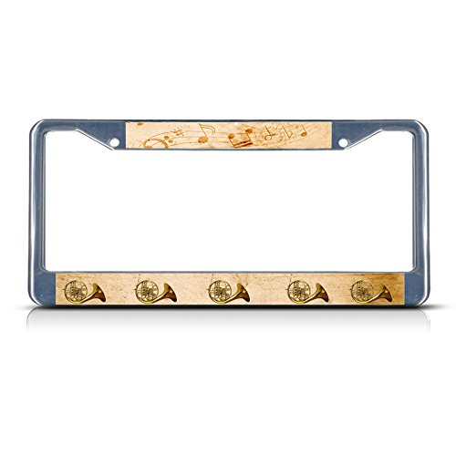 Sign Destination Metal License Plate Frame Solid Insert French Horn Musical Instrument Style 2 Car Auto Tag Holder - Chrome 2 Holes, One - Instrument Horns Musical