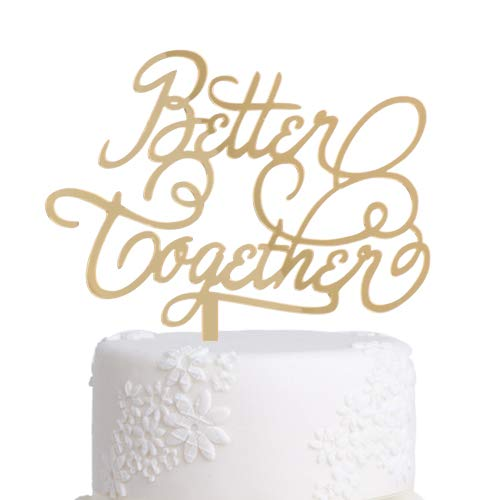 Price comparison product image Grature Mr. & Mrs. Better Together Wedding Cake Toppers / Unique Decorations for Anniversary,  Bridal Shower,  Vow Renewal,  Couples Celebration / Rustic Bride & Groom Baking Supplies Décor