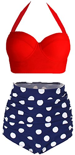 (Amourri Womens Retro Vintage Polka Underwire High Waisted Swimsuit Bathing Suits Bikini,Red+blue,US 2-4=Tag Size)
