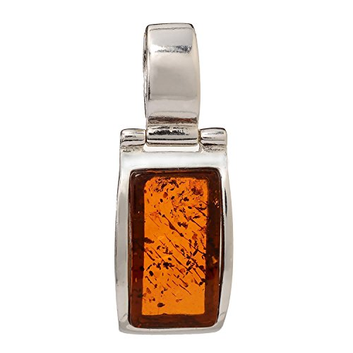 HolidayGiftShops Sterling Silver and Baltic Honey Rectangle Amber Pendant Brook