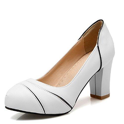 Naisten Pull Valkoinen Pehmeä Allhqfashion Toe Suljetun Pyöreä Korkokenkiä pumppuihin Materiaali kengät O14PwqHU