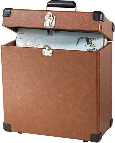 Record Case Holds - Crosley CR401-TA Record Carrier Case for 30+ Albums, Tan