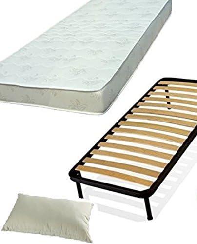 Juego completo de somier de listones de 120 x 190, colchón y almohada para cama matrimonial