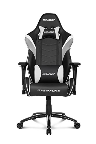 AKRacing Overture Series Super-Premium Gaming Chair with High Backrest, Recliner, Swivel, Tilt, Rocker and Seat Height Adjustment Mechanisms with 5/10 warranty White