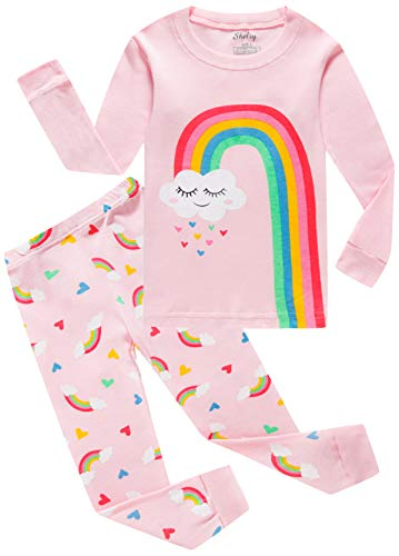 Price comparison product image Rainbow Girls Pajamas Set 100% Cotton Long Sleeve Toddler Clothes Kids Pjs Sleepwear Set Size 5