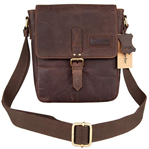 Woodpecker Genuine Cowhide Leather iPad Bag for Mens Crossbody Shoulder bag College Satchel bag ()