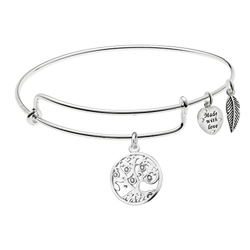 925 Sterling Silver Clear Rhinestone Family Tree Heart Wing Charm Adjustable Bangle