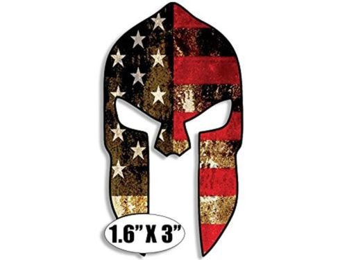 HARDHAT Sized SPARTAN HELMET USA Flag Sticker (gun molon - Hat Sized