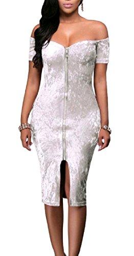 Out Evening Cut Women Bodycon Dress Velvet Zip Up Coolred Midi Sexy Pencil Pattern3 Split Shoulder PwZxRq8a8