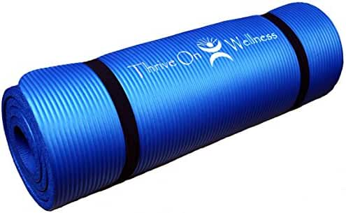 Thrive on Wellness Thick Exercise Mat with Carry Strap - BEST Comfort on Hips, Knees, Spine and Joints, 72