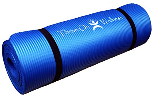 Thrive on Wellness Thick Exercise Mat with Carry Strap, 72 x 24 x 1/2-Inches, Blue