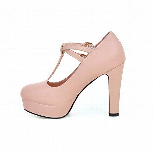 MissSaSa Damen elegant high heel Plateau Knöchelriemchen T-Spange Pumps Pink