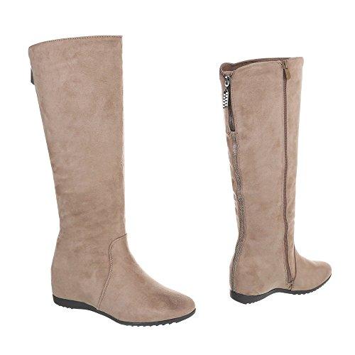 Ital-Design Keilstiefel Damenschuhe Keilstiefel Keilabsatz/Wedge Keilabsatz Reißverschluss Stiefel Beige