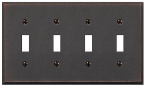Amerelle 68T4DB Manhattan 4 Toggle Wallplate, Aged Bronze by Amerelle