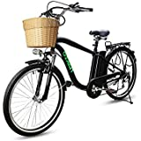"""NAKTO Adult Electric Bicycles Ebikes Men 26"""" Electric Bike Comes a Detachable 36V 10Ah Lithium Battery & Battery Charger (Camel Black)"""