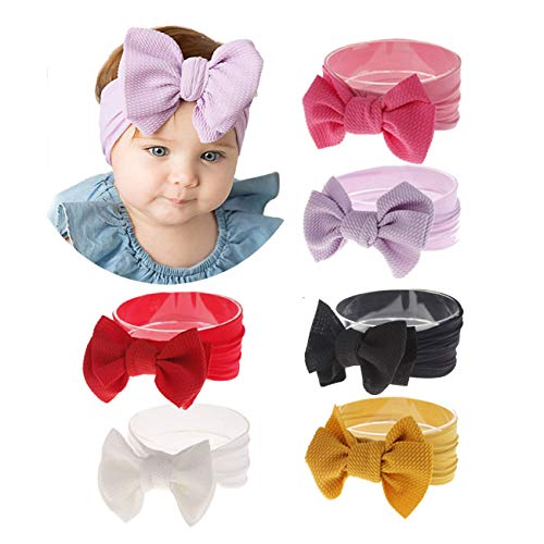 2019 Big Hair Bow Baby Headbands Knot Headwrap Nylon Elastic Head Wraps for Newborn Infant Toddler Hair Accessories (2019-B1) ()