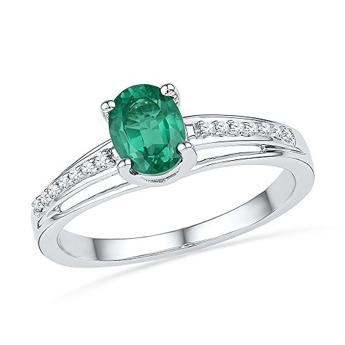 Jewel Tie Size - 5-10k White Gold Oval Round Green Simulated Emerald And White Diamond Fashion Band OR Engagement Ring Prong Set Solitaire Shaped Ring (.07 cttw.)
