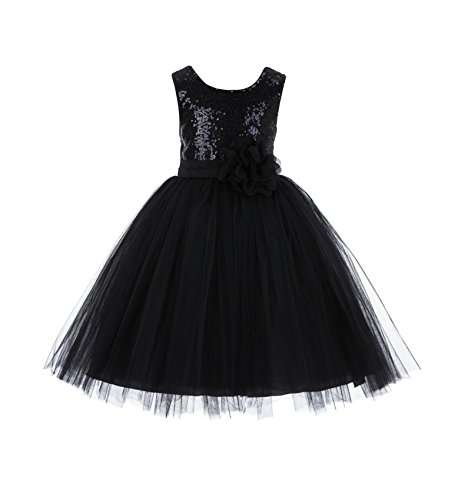 (Wedding Formal Sequins Bodice Ruffle Tulle Flower Girl Dress Easter Toddler Birthday Pageant Communion Gown J122F)