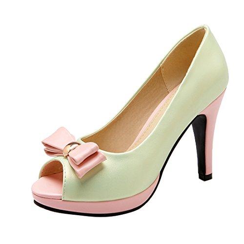 YE Damen Peep Toe Pumps Stiletto High Heels Plateau mit