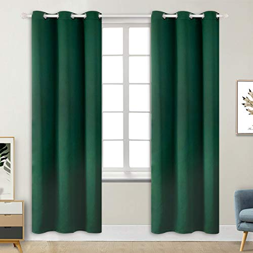 BGment Blackout Curtains - Grommet Thermal Insulated Room Darkening Bedroom and Living Room Curtains, Set of 2 Decorative Curtain Panels (42 x 84 Inch, Emerald Green) (Curtain Panels Green Blackout)