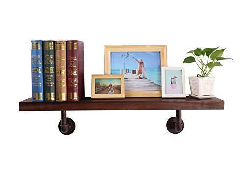 "O&K Furniture Industrial Pipe Wall Shelf, Rustic Wood Shelf Rack with Copper Iron Pipe Bracket, 36""×7""×7.74""(1-Pcs)"